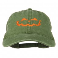 Halloween Jack O Lantern Embroidered Washed Dyed Cap - Olive Green