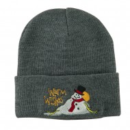 Warm Wishes Snowman Embroidered Beanie - Grey