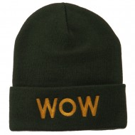 Wow Embroidered Long Knit Beanie - Olive