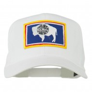 State of Wyoming Embroidered Patch Cap - White