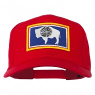 State of Wyoming Embroidered Patch Cap - Red