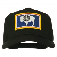 State of Wyoming Embroidered Patch Cap - Black