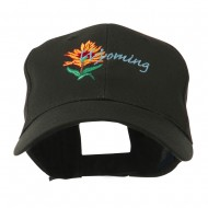 USA State Flower Wyoming Indian Paintbrush Embroidered Cap - Black