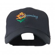 USA State Flower Wyoming Indian Paintbrush Embroidered Cap - Navy