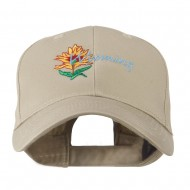 USA State Flower Wyoming Indian Paintbrush Embroidered Cap - Khaki