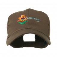 USA State Flower Wyoming Indian Paintbrush Embroidered Cap - Brown