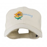 USA State Flower Wyoming Indian Paintbrush Embroidered Cap - Stone