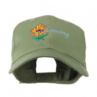 USA State Flower Wyoming Indian Paintbrush Embroidered Cap - Olive