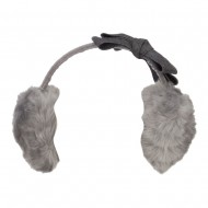 Faux Fur Felt Bow Ear Muff - Grey
