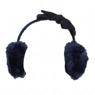 Faux Fur Felt Bow Ear Muff - Navy