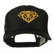 Youth Two Inches Diamond Embroidered Foam Mesh Cap - Black