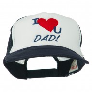 I Love You Dad Embroidered Foam Mesh Back Cap - Navy White