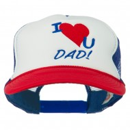 I Love You Dad Embroidered Foam Mesh Back Cap - Red White Royal