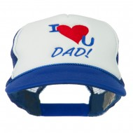 I Love You Dad Embroidered Foam Mesh Back Cap - Royal White
