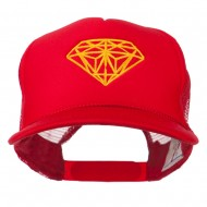 Youth Two Inches Diamond Embroidered Foam Mesh Cap - Red