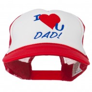 I Love You Dad Embroidered Foam Mesh Back Cap - Red White Red