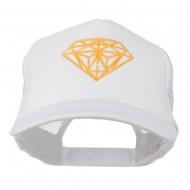 Youth Two Inches Diamond Embroidered Foam Mesh Cap - White