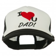 I Love You Dad Embroidered Foam Mesh Back Cap - Black White