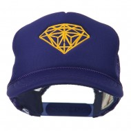 Youth Two Inches Diamond Embroidered Foam Mesh Cap - Purple