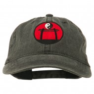 Yin and Yang Logo Embroidered Pigment Dyed Cap - Black