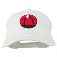 Yin and Yang Logo Embroidered Pigment Dyed Cap - White