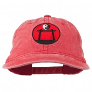 Yin and Yang Logo Embroidered Pigment Dyed Cap - Red