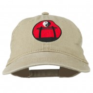 Yin and Yang Logo Embroidered Pigment Dyed Cap - Khaki