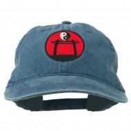 Yin and Yang Logo Embroidered Pigment Dyed Cap - Navy