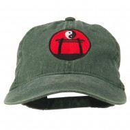 Yin and Yang Logo Embroidered Pigment Dyed Cap - Dk Green