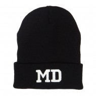MD Maryland State Embroidered Long Beanie - Black