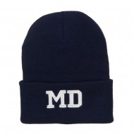 MD Maryland State Embroidered Long Beanie - Navy