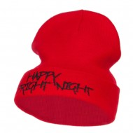 Happy Fright Night Embroidered Long Beanie - Red