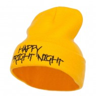 Happy Fright Night Embroidered Long Beanie - Yellow