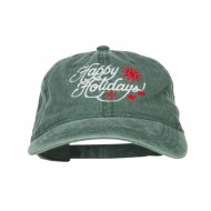 Happy Holidays Snowflakes Embroidered Washed Cap - Dk Green