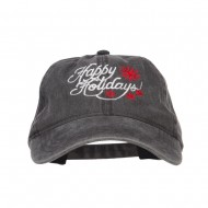 Happy Holidays Snowflakes Embroidered Washed Cap - Black