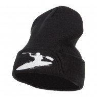 Kayak Sports Embroidered Long Beanie - Black