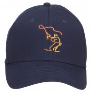 Fly Fishing Man Embroidered Cotton Twill Cap - Navy