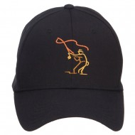 Fly Fishing Man Embroidered Cotton Twill Cap - Black