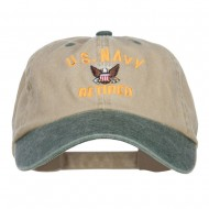 US Navy Retired Military Embroidered Two Tone Cap - Khaki Green