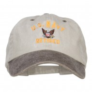US Navy Retired Military Embroidered Two Tone Cap - Beige Brown