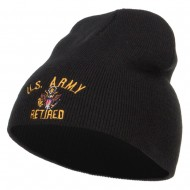 US Army Retired Military Embroidered Short Beanie - Black