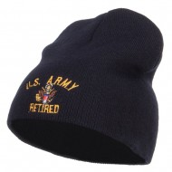 US Army Retired Military Embroidered Short Beanie - Navy