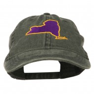 New York State Map Embroidered Cap - Black