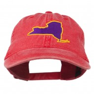 New York State Map Embroidered Cap - Red