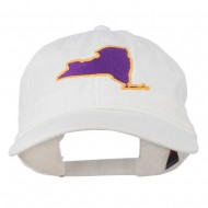 New York State Map Embroidered Cap - White