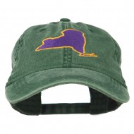 New York State Map Embroidered Cap - Dark Green