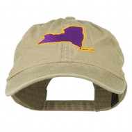 New York State Map Embroidered Cap - Khaki