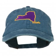 New York State Map Embroidered Cap - Navy