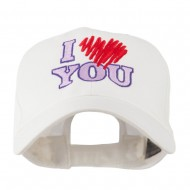 I Love You Logo Embroidered Cap - White
