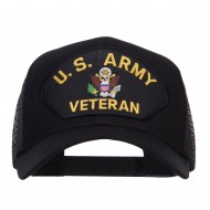 US Army Veteran Military Patched Mesh Cap - Black